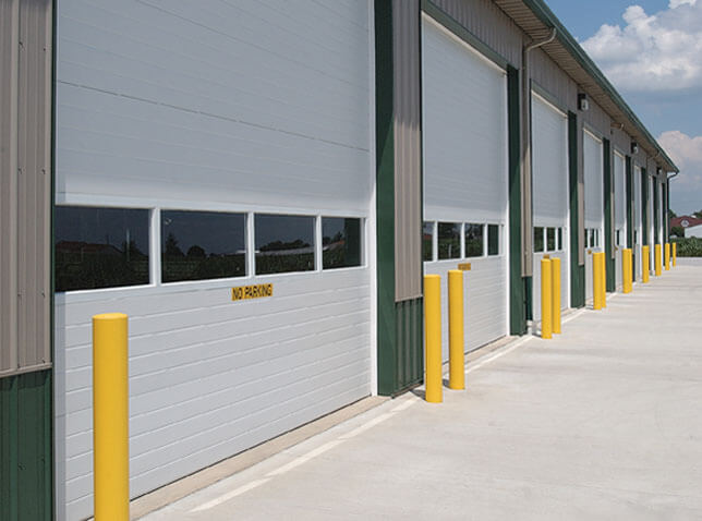Commercial doors With Protection pillars