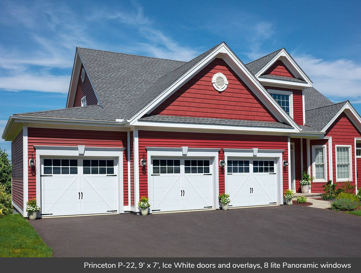 Princeton P-22, 9' x 7', Ice White doors and overlays, 8 lite Panoramic windows