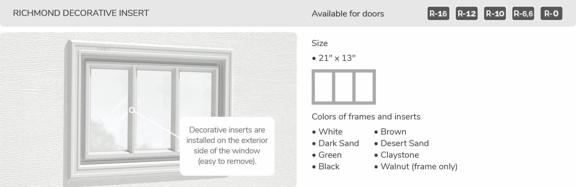 Richmond Decorative Inserts, 21' x 13', available for doors R-16, R-12, R-10, R-6,6 and R-0